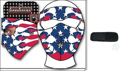 Tribal Usa American Flag Neoprene Face Mask & Extender For Large Heads Biker Xl