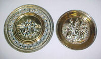 Two Tooled Brass Dutch Scenes Wall Plaques~Bar Art