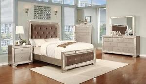 Lily 4 Pcs Bedroom Set  (Queen Bed, 1 Night Stand, Dresser/Mir)