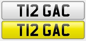 Cherished number plate 'T12 GAC' on retention form.