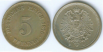 Kaiserreich 5 Pfennig 1876 E  stempelglanz