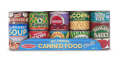 Set of 10 Play Food Stacking Grocery Cans #4088  Melissa & and Doug
