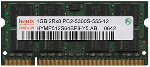Laptop Memory - Memoire Portable 1GB PC5300S ou PC6400S