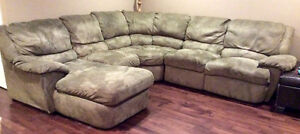 Microfibre Sectional Couch with Recliners