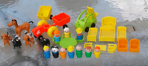 Large lot of vintage Fisher Price little people and accessories