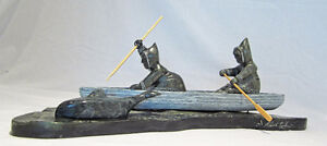 MUSEUM QUALITY MARK PARKINSON WHALE HUNTING SOAPSTONE SCULPTURE