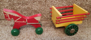 "Wood ""Red Horse"" pulling Wood Cart $25 or best offer11"" over"