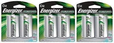 Energizer NH50BP-2 Rechargeable D Nimh Batteries (3 Packs of 2 = 6 Batteries)