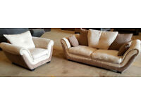 Dfs 3 + 1 Seater Sofas - Ivory And Chocolate.