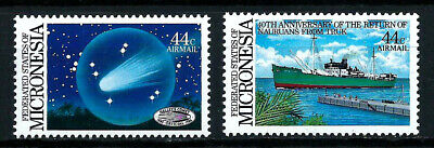 MICRONESIA, SCOTT # C19-C20, SET OF 2 AIRMAIL STAMPS, HALLEY'S COMET & SHIPS MNH