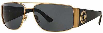 NWT VERSACE Sunglasses VE 2163 100281 63MM GOLD W GREY POLARIZED SUNGLASSES NIB