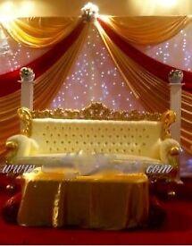 Wedding Backdrop Decoration £199 Royal Chair Hire £199 LED Dancefloor £349 Rent Charger Plates 95p