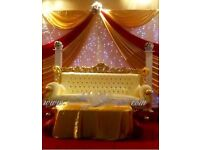 Wedding Backdrop Decoration £199 Royal Chair Hire £199 LED Dancefloor £349 Rent Charger Plates 95p