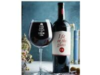 Keep calm personalised bottle of wine glass