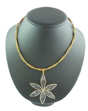 MAPAPALO collier fleur de cristal en or végétal. Plantaardig goud halsketting.