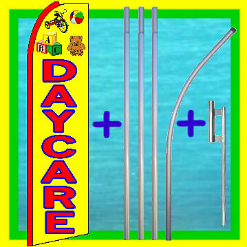 Daycare 15 Advertising Flag Pole Kit Feather Swooper Flutter Bow Banner