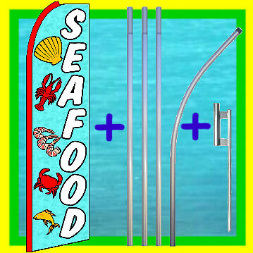 Seafood 15 Advertising Flag Pole Kit Feather Swooper Bow Flutter Banner