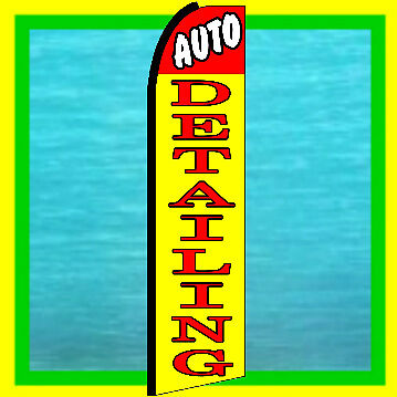 Auto Detailing Advertising Flag Car Wash Feather Swooper Bow Flutter Banner