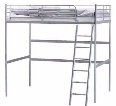 Ikea Tromso Loft Bed - Double, Silver | in West End, Glasgow | Gumtree