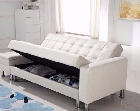furniture with storage space. new u0027moroniu0027 white with storage space 3 seater sofa bed free local delivery furniture
