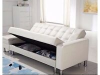 New 'Moroni' White With Storage Space 3 Seater Sofa Bed (Free Local Delivery)
