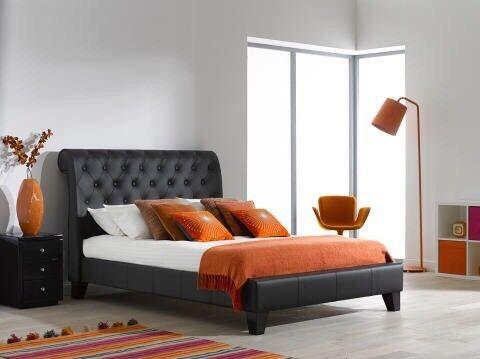 Dreams Croft Luxury King Size Italian Leather Bed Frame In Black