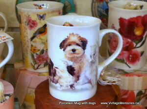 Brand New, Fine Porcelain Mugs with dog, cat, music instruments
