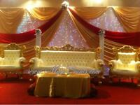 King and Queen Chair Hire - Wedding Stage Decorations - Cheap Chair Cover Rental 79p Wedding package