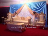 ✿ Gold Charger Plate Hire White/Black Chair Cover Hire 79p Head Table Decoration Hire Packages £4 ✿