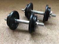 Adjustable Dumbells - Metal Plates Adding Up To 20kg