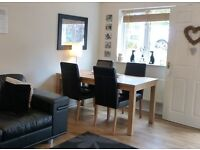 6 Seater Wooden Dining Table & 6 Black Faux Leather Chairs