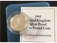 1993 United Kingdom Silver Proof One Pound Coin