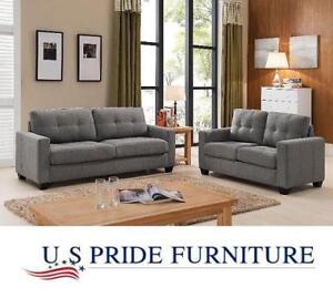 NEW US PRIDE FURNITURE SOFA SET - 131327920 - 2 PIECE FABRIC SOFA AND LOVE SEAT GREY