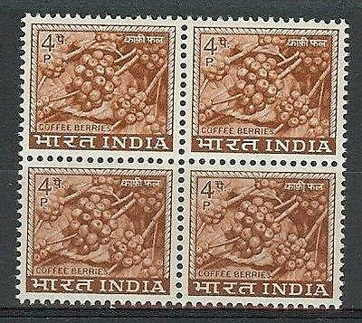 India 1965 Sc# 407 Coffee berry block 4 MNH