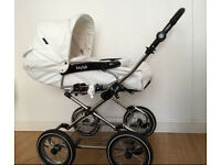 BabyStyle Prestige White Leatherette Pram for sale