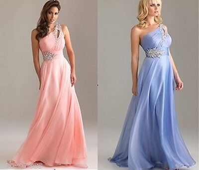 Stock Sexy Chiffon Long Formal Prom Party Ball Cocktail Evening Bridal Dress
