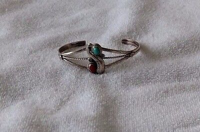 Vintage Native American Women's Turquoise Coral Bracelet Sterling Silver