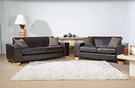 **BRAND NEW LEATHER SOFA SET FOR SALE - FREE DELIVERY!**