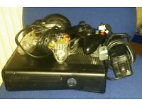 Xbox 360 with 2 controllers, Turtle beach headset and 27 games