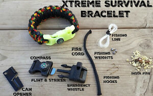 Handmade Paracord Survival Bracelets and Survival Packs