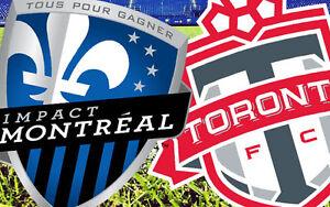 impact de montreal vs toronto fc le 8 juin. 2 places bien situé