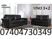 LEATHER SOFA SET 3+2 AS IN PIC BLACK £199