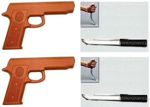2 Rubber Gun and 2 Rubber Tanto Knives Set for Martial Arts Training Defense