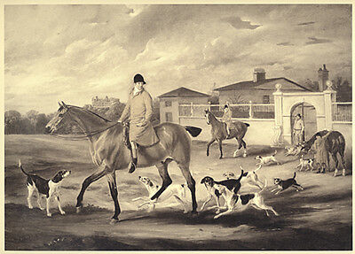 (FOXHOUND FOX HUNTING HORSE Thomas Goosley and the Belvoir Hounds Leaving Kennels)