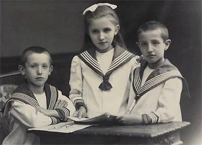 3 Kinder im Matrosenanzug altes Foto Dickopf - Kinder Im Anzug