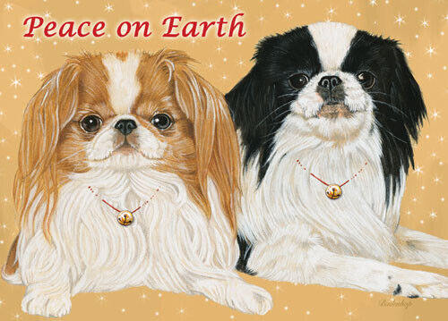 Japanese Chin Christmas Cards Set of 10 cards & 10 envelopes