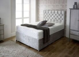 Delivery Today/ CRUSHED VELVET King Size Bed MEMORYFOAM Mattress Headboard Factory Direct