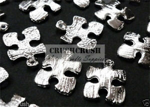 FREE-SHIP-18pcs-Silver-Jigsaw-Puzzle-Piece-Charms-Pendant-Jewelry-Making-PND-458
