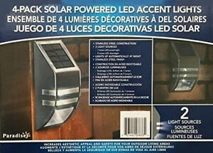 4 Pack Solar Powered LED Accent/Security Light Stainless NIB