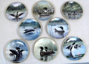 Complete collector plate set of 8 - loons - Voice of the North